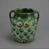SOLD Friedrich Festersen, an art nouveau vase with peacock decoration
