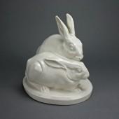 Schwarzburger Werkstätten two rabbits by E. Cleinow ca. 1920