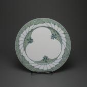"""Meissen T glatt dinner plate """"wing pattern"""" by Rudolf Hentschel, 26 cm 1. quality"""